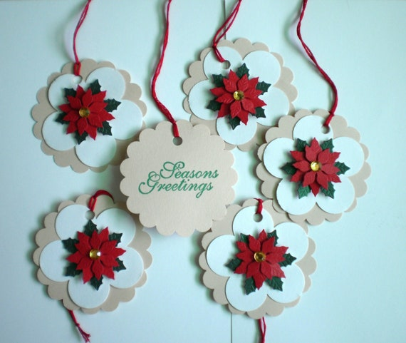 Holiday Gift Tags - Poinsettas