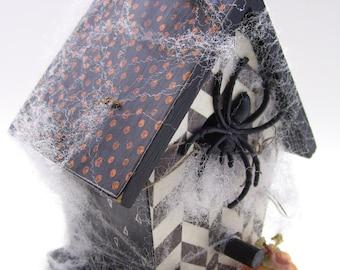 Spiders Pumpkins Decoupaged Mini Birdhouse