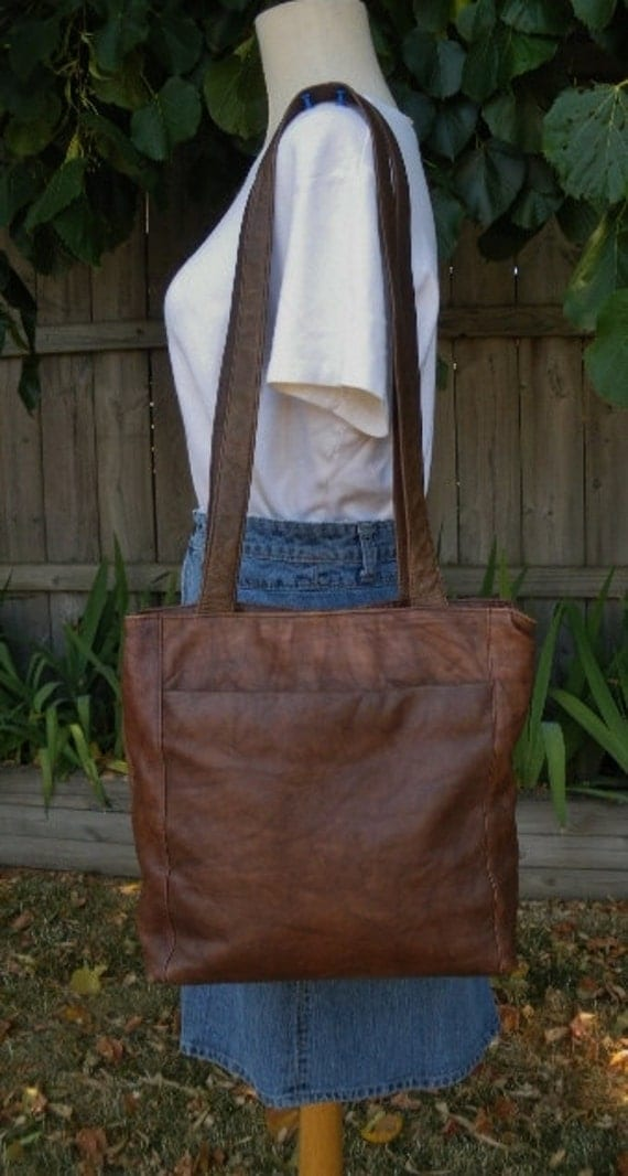 vintage wilsons large brown leather satchel tote purse bag