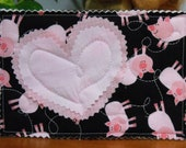 Unique Quilted Postcard - Love in the Mail - Little Pink Piglets