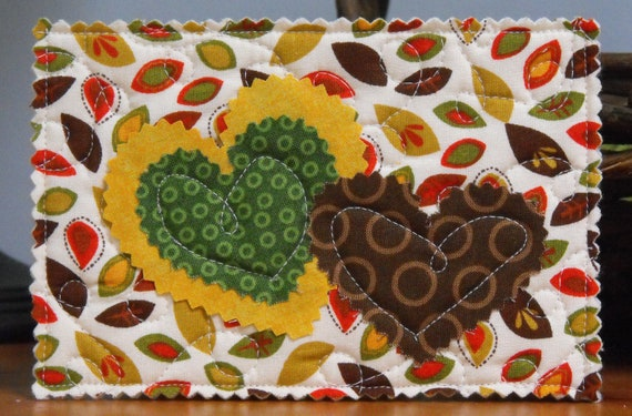 Unique Quilted Postcard - Fall Leaves