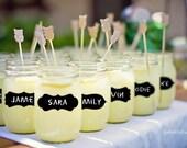 Mason Jar Chalkboard Labels Medium- mixed set of 27 - Parties, Weddings, Organization, Great on Glasses, Jars, Canisters, Walls
