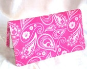 SALE Checkbook Cover - Pink Paisley,  novelty corduroy- Fabric Checkbook cover, wallet, cupon holder, organizer