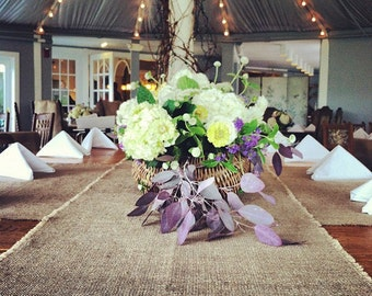"""Set of 8 Burlap Table Runners 120"""" Long Widths from 12"""" up to 18"""" Extra Wide Table Runners Custom Sizes Available"""