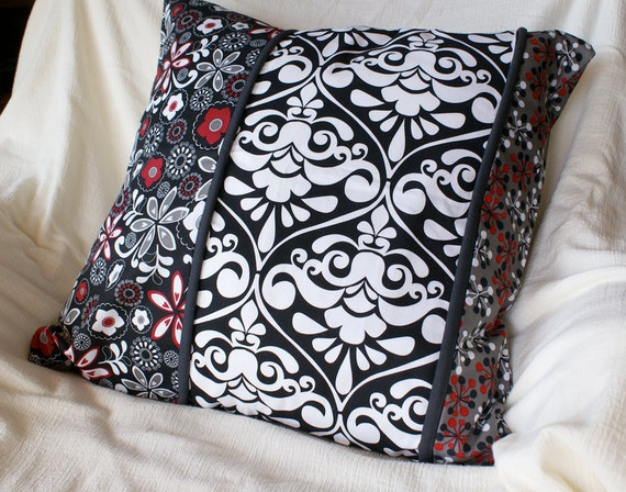 SALE Decorative Patchwork Throw Pillow Cover in Cotton with Invisible Zipper closure