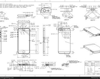 "24""x36""  iPhone 5 Dimensions Premium Popup Poster Print"