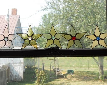 Stained Glass Star Ornament Suncatcher set of 5