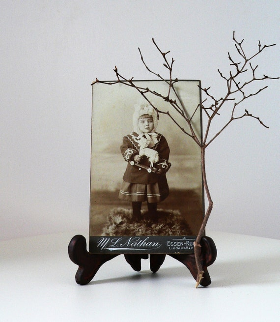 """Antique Cabinet Card Portrait Photography """"little girl with lamb"""""""