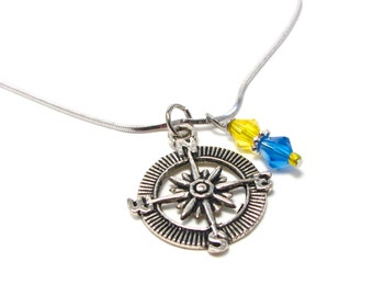 Sorority Compass Necklace - Silver - Blue and Gold - Greek Sorority Necklace - Map Jewelry - Sailing - Travel - Ocean - Nautical Necklace