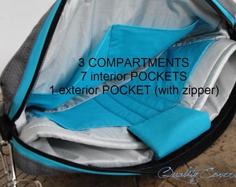 Customizable for Color Fabric and Size Laptop bag- Laptop COMPARTMENTS with 7 interior Pockets-FullyPADDED-WATERPROOF lining-exterior Pocket