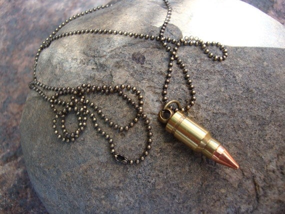 Bullet style necklace on ages brass ball chain