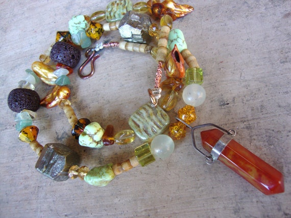Amazing crystal beaded with sterling silver fire agate point necklace