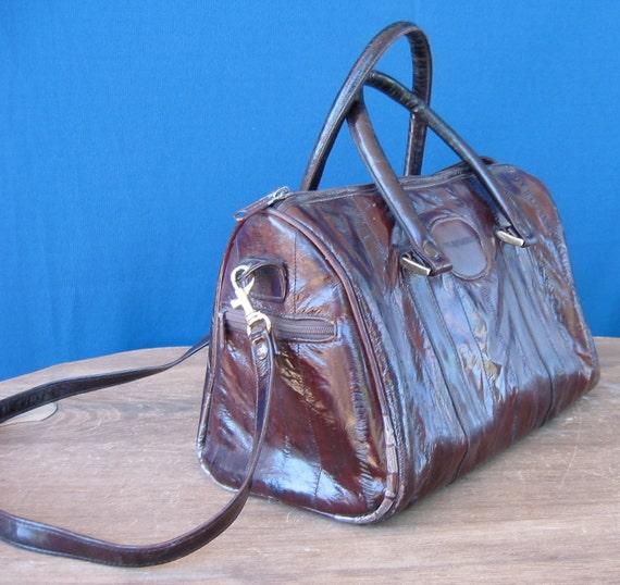 Dark Brown Eel Skin Doctor Bag Style Purse with Shoulder Strap