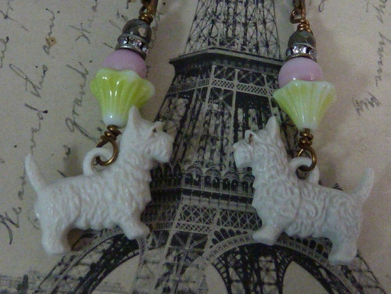 SCOTTY DOG Crackerjack toy  rhinestone  vintage assemblage antique earrings