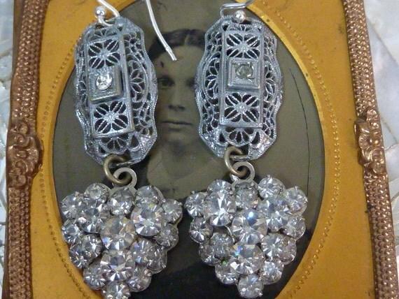 EDWARDIAN FILIGREE SILVER  rhinestone hearts Vintage Assemblage  Antique Earrings
