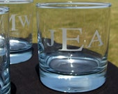Groomsmen Gifts - Bachelor Party Gifts - Personalized Etched Classic Initial Tumblers Rocks Glasses With or Without Date - 4 Glasses