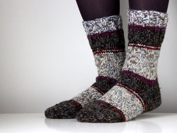 Hand knit wool socks, size - medium US W 8.5 / 9 (39-40 EU)