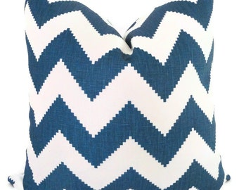Jonathan Adler Marine Blue Chevron Decorative Pillow Cover, Throw Pillow, Accent Pillow, Toss Pillow