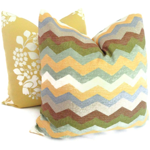 SALE Yellow and Gray Zig Zag Decorative Pillow Cover 18x18, 20x20, 22x22, 14x20 or 12x24