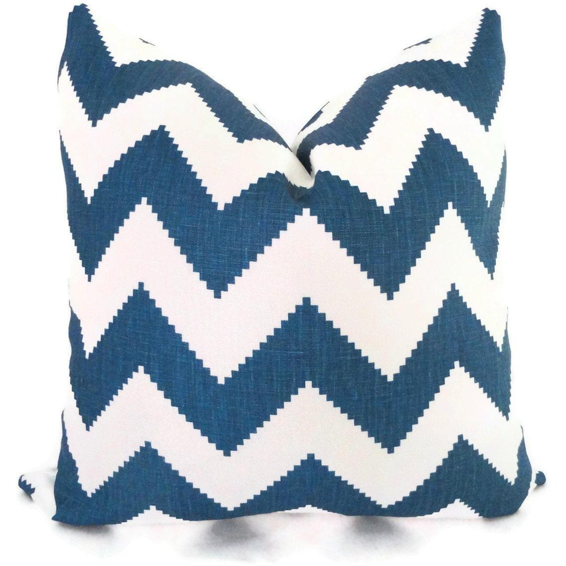 Marine Blue Throw Pillows : Jonathan Adler Marine Blue Chevron Decorative Pillow Cover
