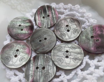 Etched Buttons Floral 22mm Silver Grey Iridescent Pearlized Vintage 2 Hole Set of 16