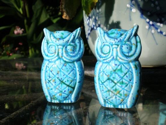 Vintage Owls Blue Ceramic Beads Large Macrame Set