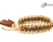 Tan Leather Braided Bracelet-Gold Bulk Chain Leather Bracelet-ECO Friendly Jewelry