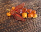 Vintage amber lily of the valley brooch, pin