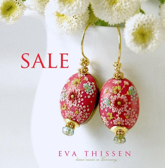 SALE. China Rose beautiful hand made hand appliqued polymer clay earrings. Made to order