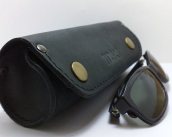 Handmade cylinder for sunglasses or reading glass cover from natural black leather to be able to fit Ray Ban Wayfarer covers initials