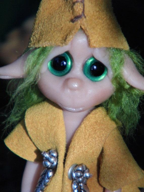 "OOAK Handmade Polymer Clay Woodland Troll Elf Elfin ""Hobbs"" Fantasy Art Doll RESERVED for Sowmya"