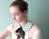 Mint Peter Pan collar Black polka dot silk OOAK by Jye, Hand-made in France