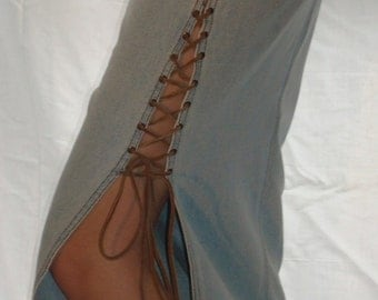 Laced denim skirt