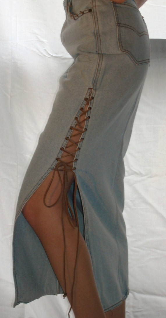 Denim skirt with side lacing