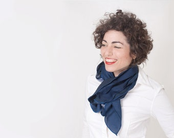 Blue Navy Scarf Women Eco Friendly