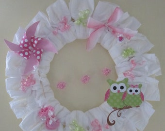 Owl Diaper Wreath-Pink and Green-Girl Baby Gift