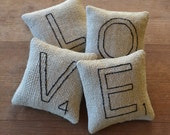 LOVE Decorative Pillows - Scrabble Letter Bowl Fillers - Valentines Day Tucks - Wedding Gift - Anniversary Gift - Home Decor - Black Ticking