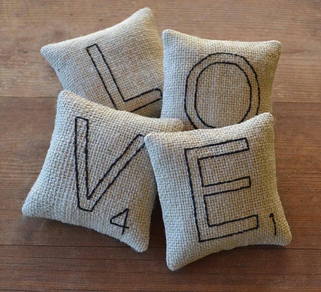 LOVE Decorative Pillows Scrabble Letter Bowl Fillers