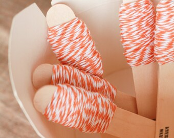 Bakers twine bianco e arancione 9m / 9m of Orange and White Bakers Twine