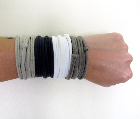 Fabric Cuff Bracelets - Eco Friendly Cotton Jersey Fabric Bracelets - Gray, Taupe, Tan White