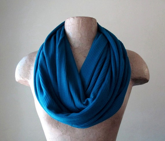 Peacock Blue Sweater Scarf - Ribbed Knit Infinity Scarf - Winter Circle Scarf - Jewel Tone Loop Scarf