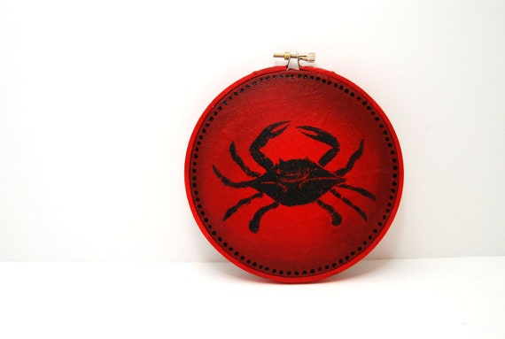 Embroidery Hoop Painting and Linocut of Crab