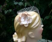 Birdcage Veil - Champagne - Cream Birdcage - Elegant Wedding Veil - Spring Wedding - Flower - Hair Piece with veil