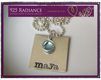 Hand stamped SQUARE- Personalized Sterling Silver Hand Stamped birthstone Necklace with Swarovski Crystal Charm