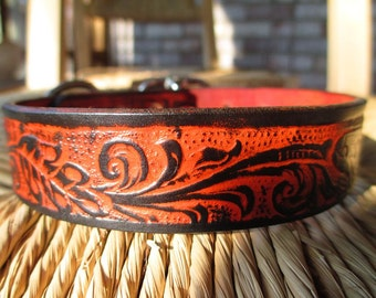 "Embossed Black and orange  Leather Dog Collar.  1"" Width."