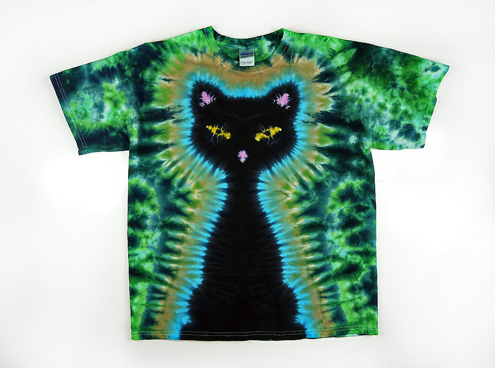 Tie dye shirt kids black cat tie dye shirt green design for Custom tie dye t shirts
