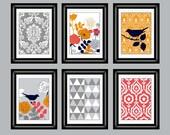 Set of Six Modern/Vintage Orange/Gray Wall Art - 8x11 Print Set - Home Decor - For Home (Unframed)