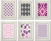 Set of Six Modern/Vintage Pink/Purple Wall Art - 8x11 Print Set - Home Decor - For Home (Unframed)