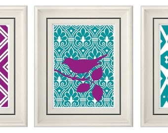 Set of Three Modern Purple/Turquoise Wall Art - Print Set - Home Decor (Unframed)