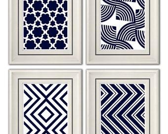 Set of Four Modern Vintage Dark Blue Wall Art - Print Set - Home Decor - 8x11 Prints (Unframed)